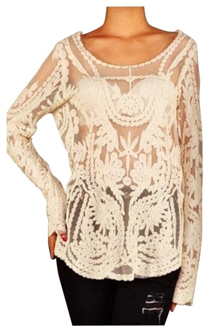 Express Cream Detailed Crochet Blouse Size 8 (M) Express Cream Detailed Crochet Blouse Size 8 (M) Image 1