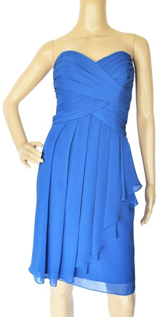 Item - Blue Pleated Ruched Cascade Front Knee Length Mid-length Formal Dress Size 8 (M)