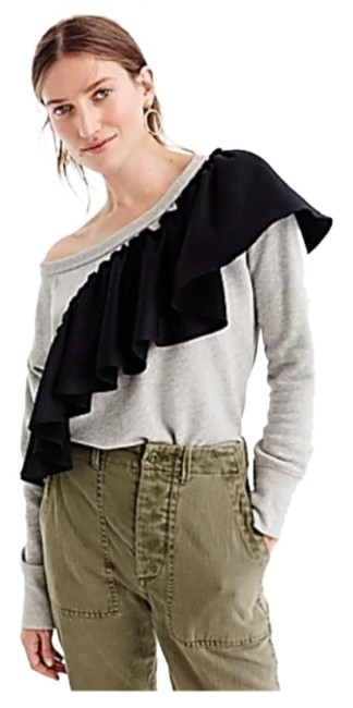 Item - Asymetrical Ruffle Scoop Neck Long Sleeve Grey Black Sweater