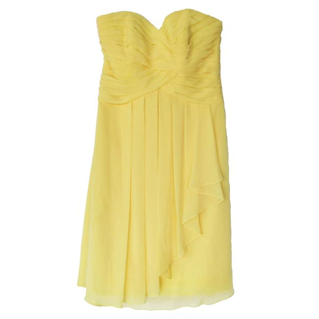 Item - Canary Yellow Ruched Pleated Chiffon Cascade Front Mid-length Formal Dress Size 0 (XS)