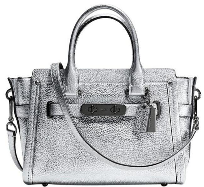 Item - Swagger 34816 Mettalic Silver Leather Satchel