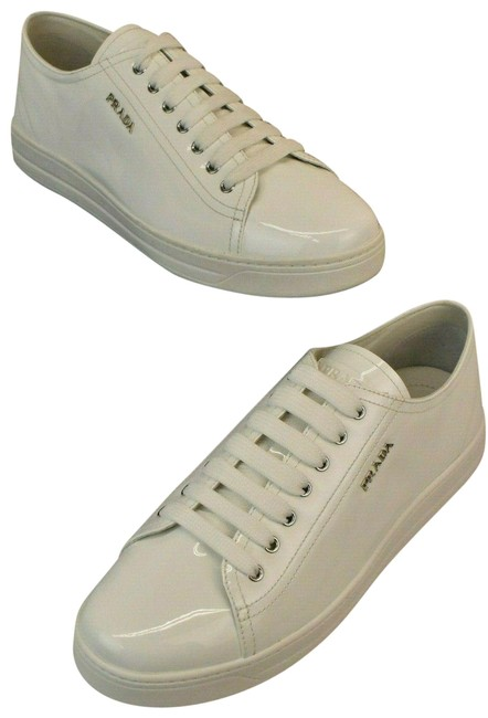 Prada White Patent Leather Lace Up Lettering Logo Low Top Italy Sneakers Size EU 41 (Approx. US 11) Regular (M, B) Prada White Patent Leather Lace Up Lettering Logo Low Top Italy Sneakers Size EU 41 (Approx. US 11) Regular (M, B) Image 1
