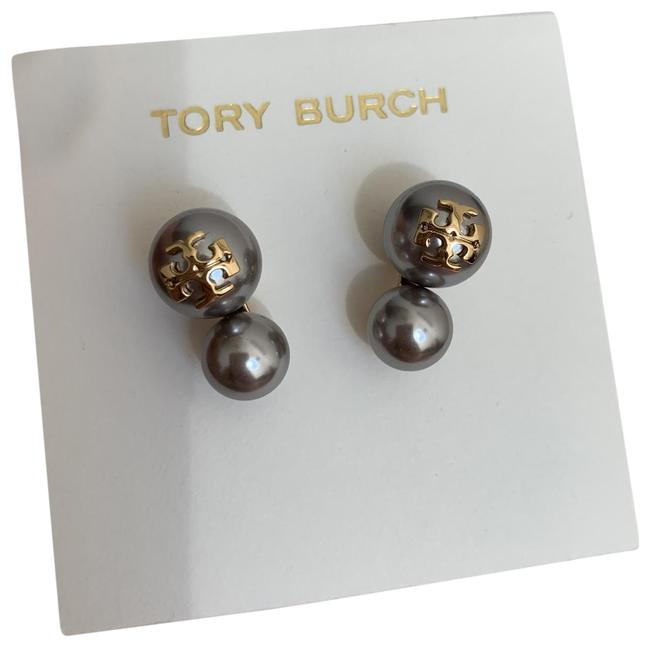 Tory Burch Grey / Gold Stud Pearl Double Earrings Tory Burch Grey / Gold Stud Pearl Double Earrings Image 1