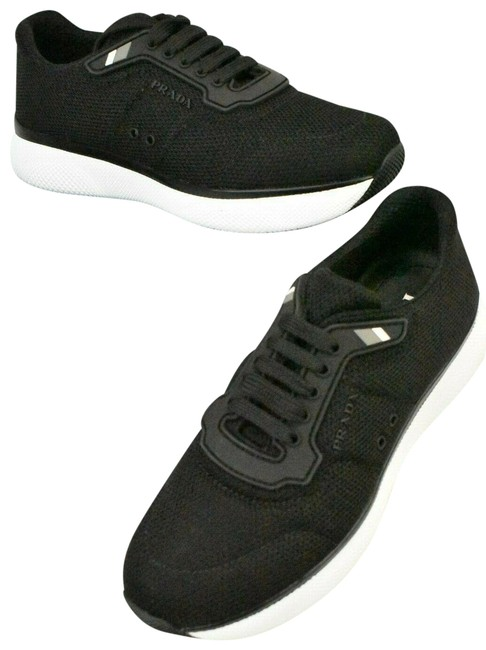 Item - Black Knit Mesh Lace Up Logo Low Top Platform 1e354i Sneakers Size EU 37.5 (Approx. US 7.5) Regular (M, B)
