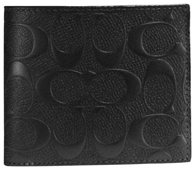 Coach Black New Signature Leather Compact with Removable Id Card (Men's) Wallet Coach Black New Signature Leather Compact with Removable Id Card (Men's) Wallet Image 1