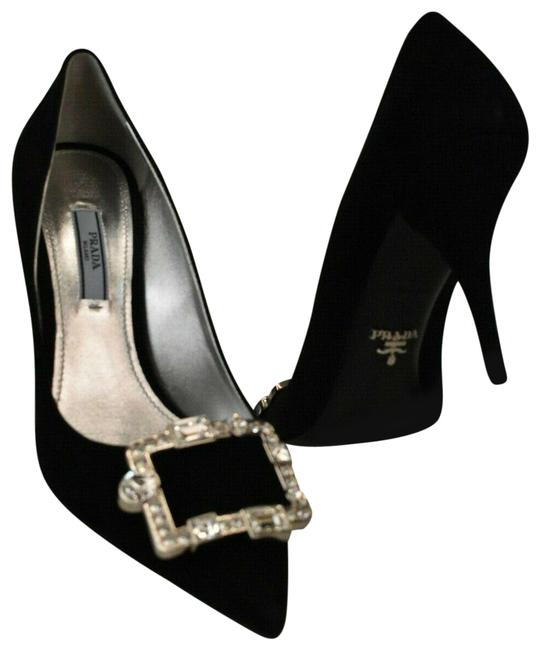 Item - Black Suede Crystals Jeweled Buckle Pointed Toe Dress Italy Pumps Size EU 37 (Approx. US 7) Regular (M, B)