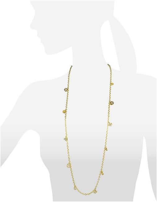 Tory Burch Gold Logo Charm Rosary Necklace Tory Burch Gold Logo Charm Rosary Necklace Image 1