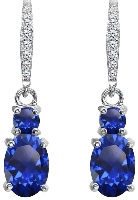 ** Sterling Silver. 925 Created Blue Sapphire Leverback Earrings ** Sterling Silver. 925 Created Blue Sapphire Leverback Earrings Image 1