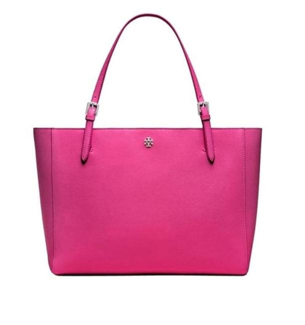 Tory Burch York Small Buckle 40668 Carnation Leather Tote Tory Burch York Small Buckle 40668 Carnation Leather Tote Image 1
