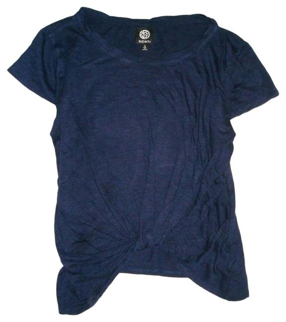 Item - Navy Knot Crop Sleeve Scoop Neck Knit S Tee Shirt Size 6 (S)