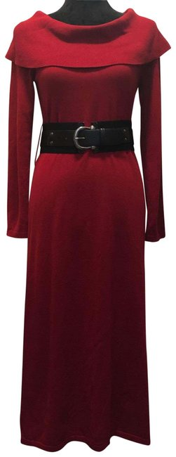 Item - Bordeaux Belted Knit Sweater Mid-length Casual Maxi Dress Size 4 (S)