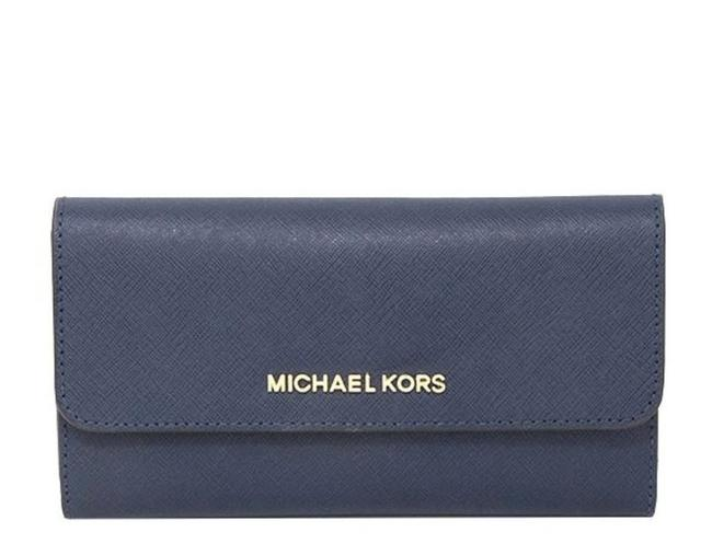 Michael Kors Navy Blue Jet Set Trifold Wallet Michael Kors Navy Blue Jet Set Trifold Wallet Image 1