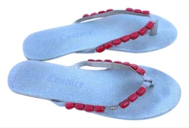 Item - Silver Red Beaded Sandals Size US 9 Regular (M, B)