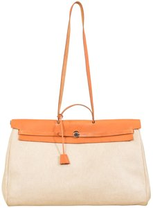 Hermès Herbag Shopper Travel Satchel in Ivory