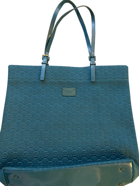 Michael Kors Collection Teal Soft Canvass Tote Michael Kors Collection Teal Soft Canvass Tote Image 1
