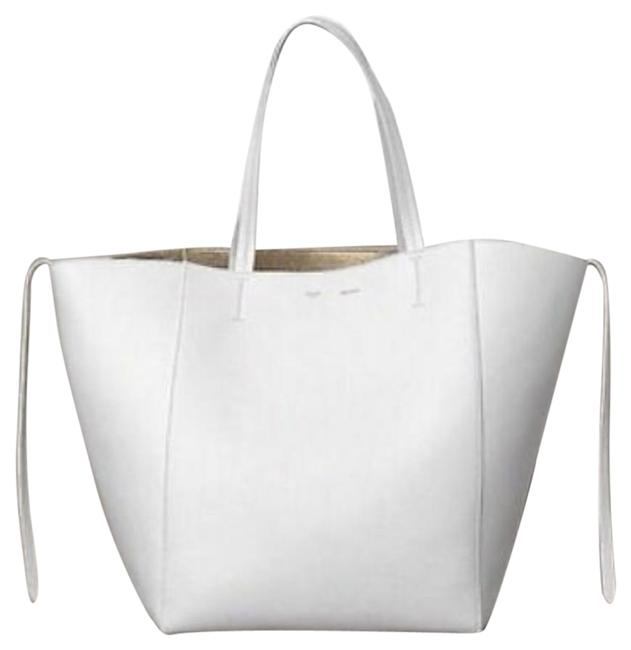 Item - Drummed White and Gold Calfskin Leather Tote