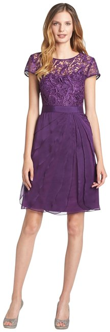Item - Eggplant Purple Layered Chiffon and Lace Short Formal Dress Size Petite 12 (L)