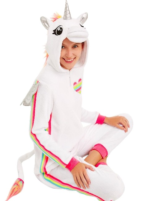 Item - White Unicorn One Piece Snuggle Costume / Jr. Med Activewear Top Size 10 (M)