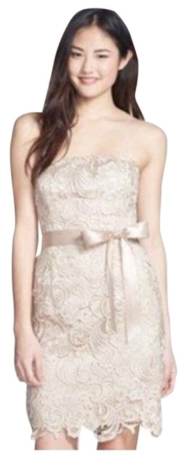 Item - Beige Strapless Lace Sheath By Short Cocktail Dress Size 6 (S)