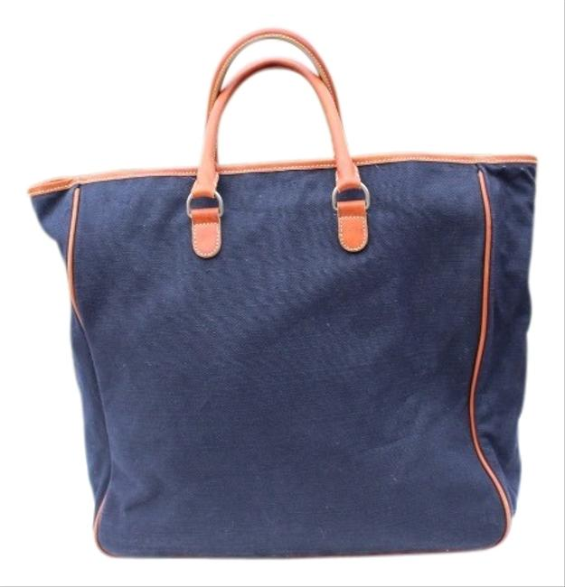 Item - Bag Large Navy Blue Canvas & Leather Tote