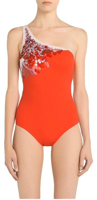 Item - Red Floral Rhapsody One Shoulder Padded Swimsuit with Sequins One-piece Bathing Suit Size 2 (XS)