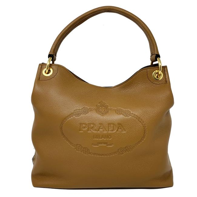 Prada Vitello Daino Shoulder New Embossed Logo Brown Leather Hobo Bag Prada Vitello Daino Shoulder New Embossed Logo Brown Leather Hobo Bag Image 1