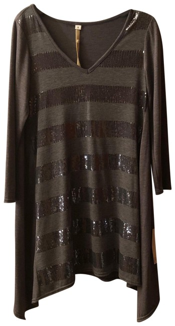 Item - Grey/Silver Sequin Long Sleeve Tunic Size 4 (S)