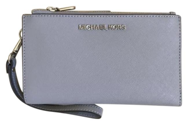 Item - Gray Jet Set Travel Double Zip Leather Phone Wristlet Wallet