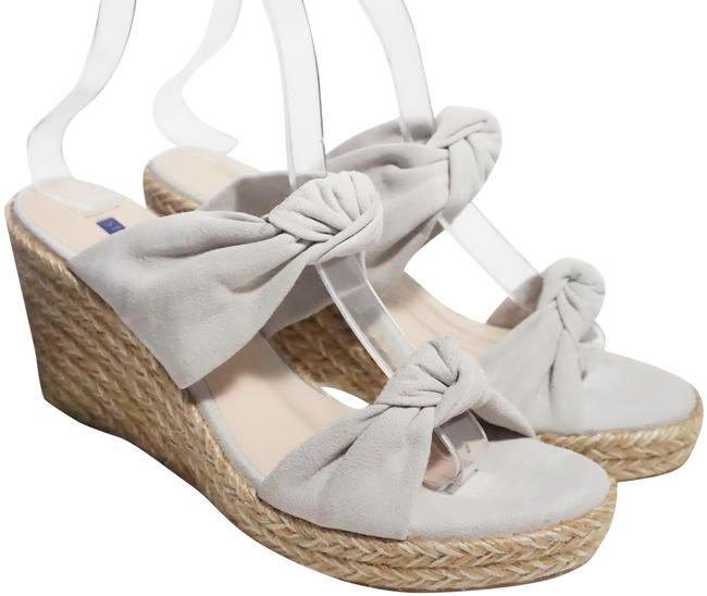 Item - Gray Silver Sarina Suede Espadrille Bow Sandals Wedges Size US 6 Regular (M, B)