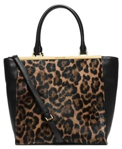Michael Kors Hair Leather Tote in Black/leopard