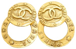 Chanel ULTRA RARE Vintage 2 Way Chanel Paris Hoop Dangle Clip On Earrings