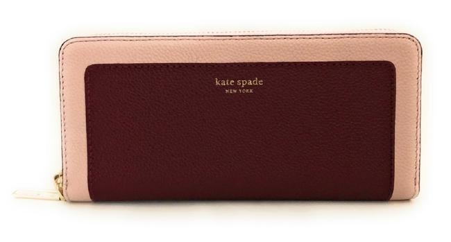 Kate Spade Brown Cherrywood New York Margaux Slim Leather Continental Wallet Kate Spade Brown Cherrywood New York Margaux Slim Leather Continental Wallet Image 1