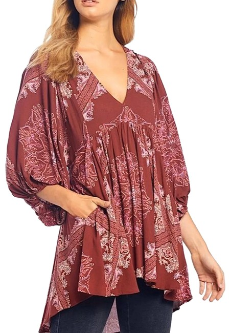 Item - Burgundy Girl Talk Printed Tunic Small Bnwts Ob1013592 Blouse Size 6 (S)