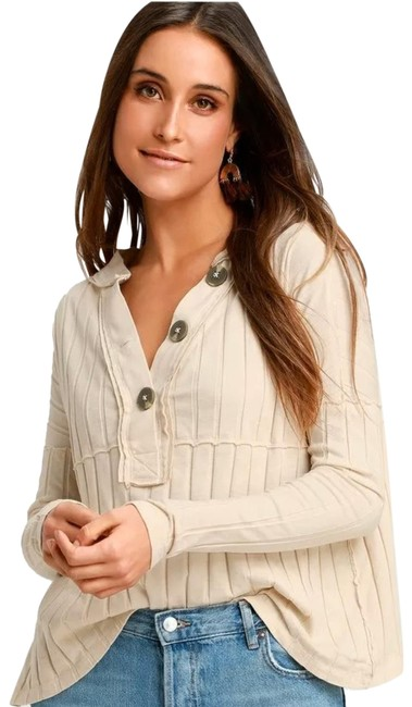 Item - Ivory In The Mix Ribbed Long Sleeve Bnwt's Medium Blouse Size 10 (M)