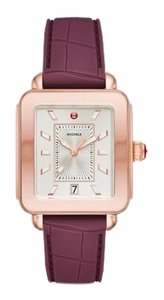 Michele New Deco Sport Pink Gold Plum Embossed Silicone Watch MWW06K000013