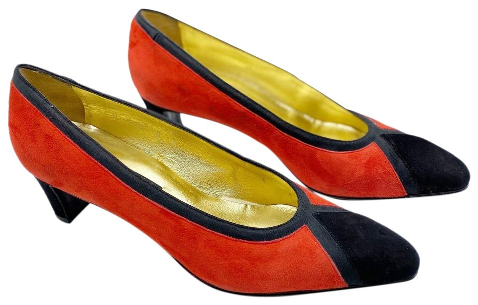 Escada Red Vintage Color Block Heels Pumps Size US 8 Regular (M, B) 85% off retail