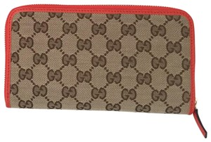 Gucci canvas leather wallet with zip