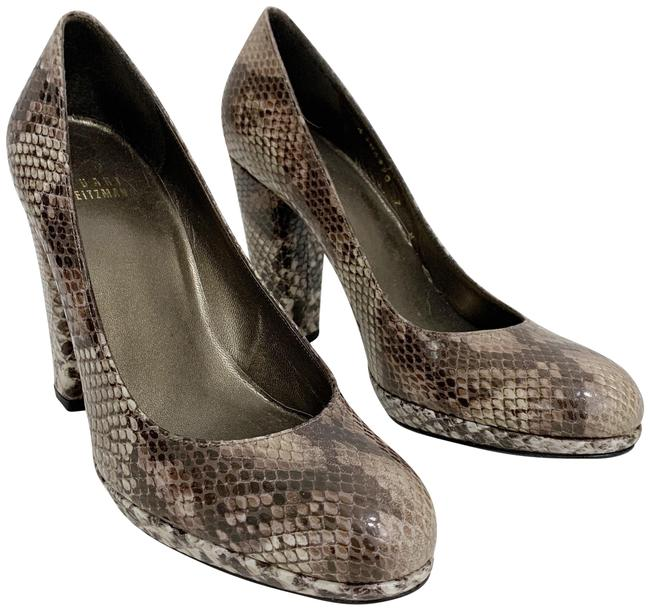 Item - Brown Gray Tango Embossed Leather Snakeskin Pumps Size US 7 Regular (M, B)