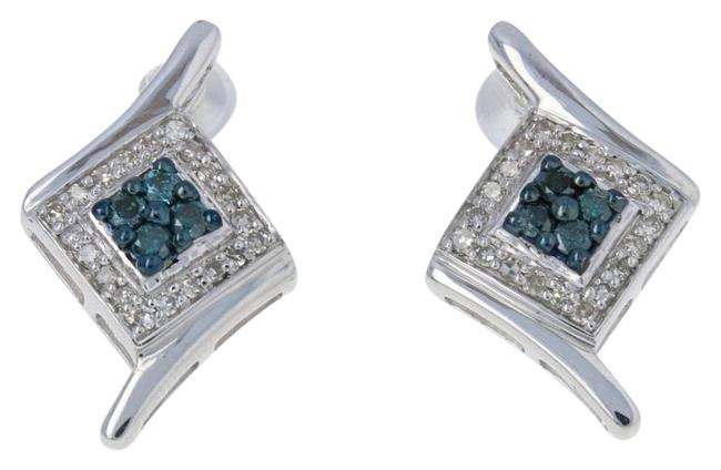 Item - Silver New .33ctw Round Brilliant Blue Diamond Sterling Bypass G6246 Earrings