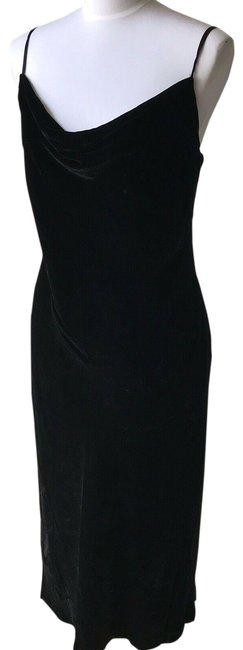 Item - Black Velvet/Velour Draped New Mid-length Cocktail Dress Size 0 (XS)