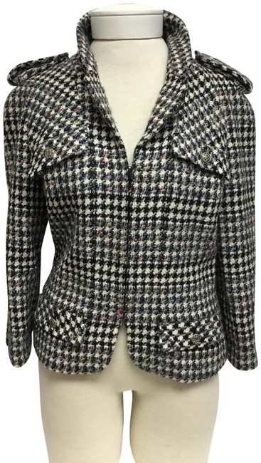 Item - Black and White Houndstooth Tweed Jacket Size 8 (M)