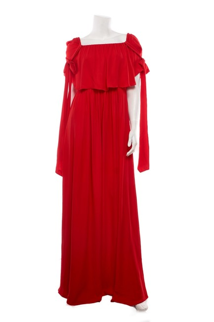 Item - Red Chiffon Tiered Gown Long Night Out Dress Size 4 (S)