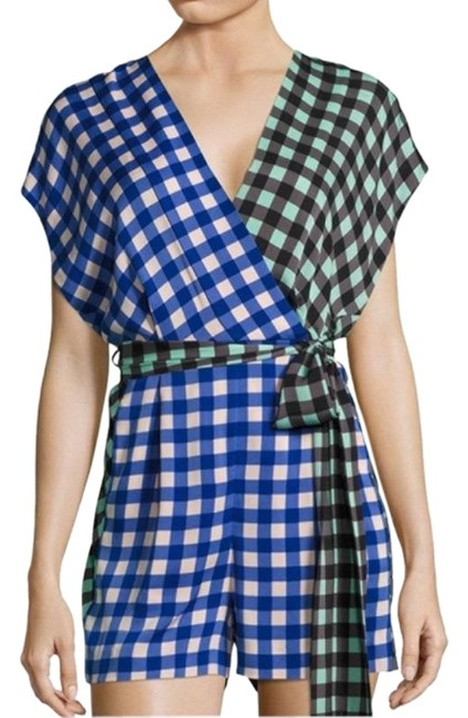 Item - Green Blue Colorblock Checkered Romper/Jumpsuit