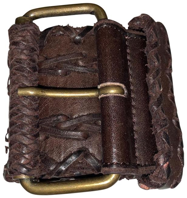 Item - Brown Leather Wide Braided Gold Buckle Belt