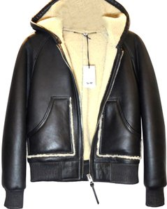 Coach Collection Shearling Hoodie Leather Jacket