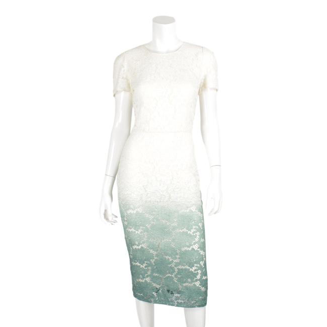 Item - White & Teal Ombre Short Sleeved Long Casual Maxi Dress Size 8 (M)
