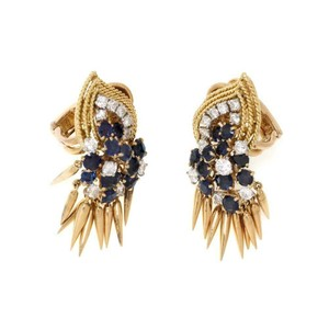 Other French Vintage 5ct Diamond Sapphire 18k Gold Dangle Clip On Earrings