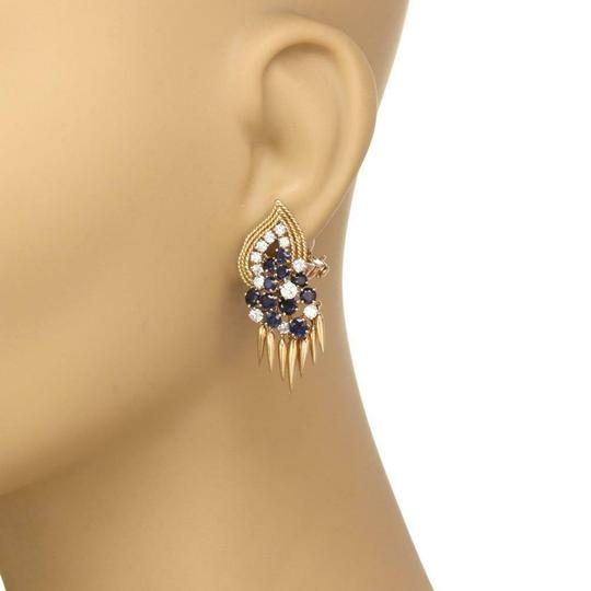 Other French Vintage 5ct Diamond Sapphire 18k Gold Dangle Clip On Earrings Image 1