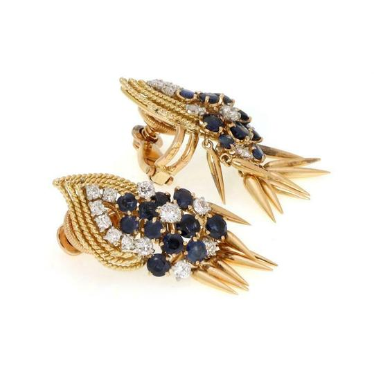 Other French Vintage 5ct Diamond Sapphire 18k Gold Dangle Clip On Earrings Image 2