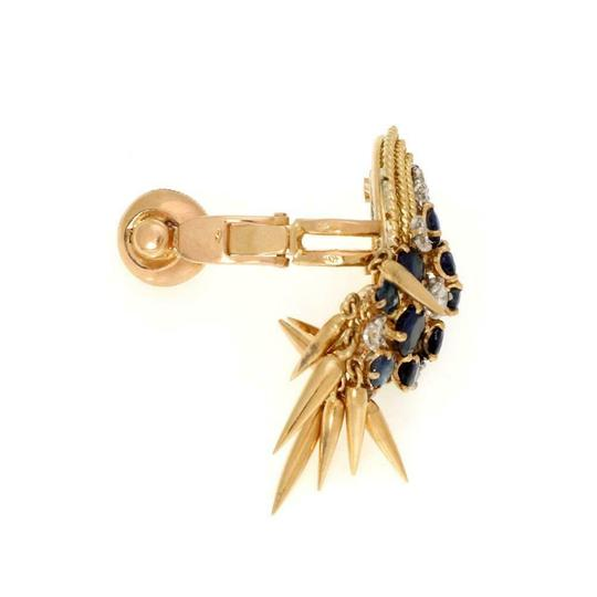 Other French Vintage 5ct Diamond Sapphire 18k Gold Dangle Clip On Earrings Image 3